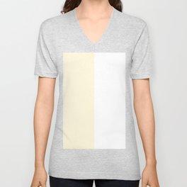 White and Cornsilk Yellow Vertical Halves Unisex V-Neck