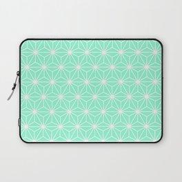 Aqua Geometric Flowers and Florals Isosceles Triangle Laptop Sleeve
