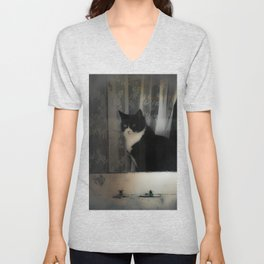 One Cat in the window Unisex V-Neck