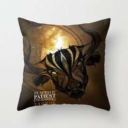 Taurus- Peaceful, Patient, Endearing Throw Pillow
