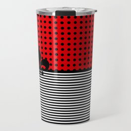 Cherry Red -  Dots and Lines Travel Mug