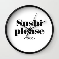 2pac Wall Clocks featuring Sushi Please by Text Guy
