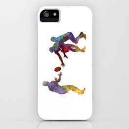 Rugby men players 02 in watercolor iPhone Case