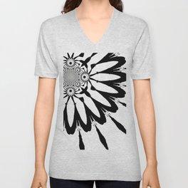 The Modern Flower White & Black Unisex V-Neck