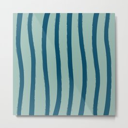 Paint Lines Vertical Turquoises Metal Print