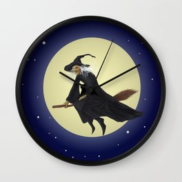 Old witch and hers black cat flying on a broom. Halloween illustration. Wall Clock