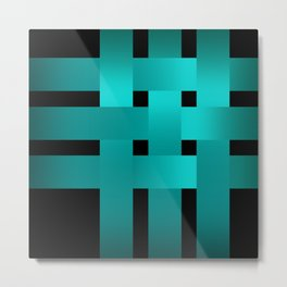 Abstraction .Weave turquoise satin ribbons . Patchwork . Metal Print
