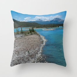 Athabasca River Photography Print Throw Pillow