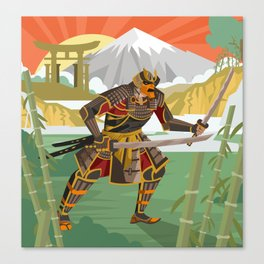 samurai warrior in the mountain Canvas Print