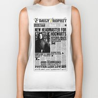 """snape Biker Tanks featuring Daily Prophet """"NEW Head Master, Severus Snape"""" by Win Graphics"""