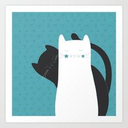 Black White Cats Art Print