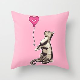 Cat with a Heart Balloon Illustration Throw Pillow