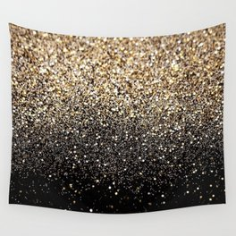 Black & Gold Sparkle Wall Tapestry