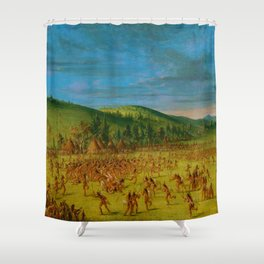 Classical Masterpiece 'Ball play of the Choctaw' by George Catlin Shower Curtain