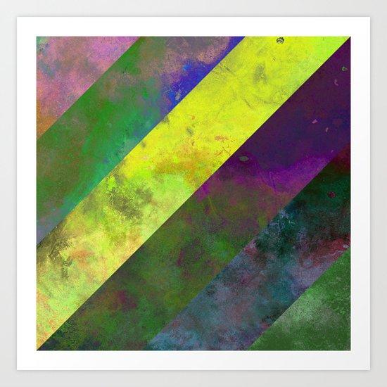 45 Degrees - Abstract, textured, diagonal stripes Art Print