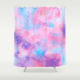 Artsy Girly Pink Blue Abstract Paint Splatter Art Shower Curtain