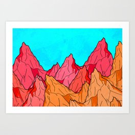The Red and Orange Mounts Art Print