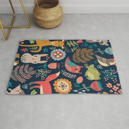 Blue Woodland Critters Pattern Rug