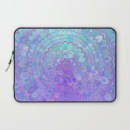 Mandala Flower in Light Blue and Purple Laptop Sleeve