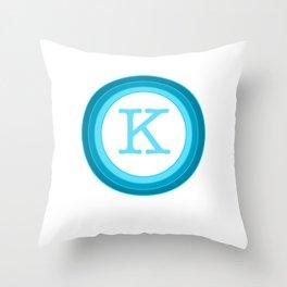 Blue letter K Throw Pillow