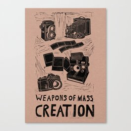 Weapons Of Mass Creation - Photography (blk on brown) Canvas Print