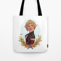 dragon age Tote Bags featuring Dragon Age Inquisition: Sera by Elies Indigne