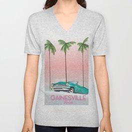 Gainesville Florida retro travel poster. Unisex V-Neck