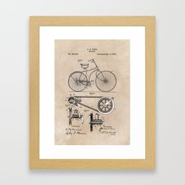 patent Bicycle 1890 Rice Framed Art Print