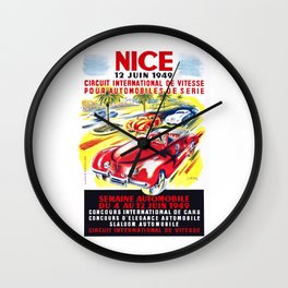 1949 Nice France Circuit Automobile Race Poster Wall Clock