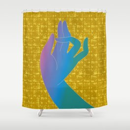 Holly Hand on Gold-leaf Screen Shower Curtain