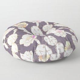 Modern white gold mauve lavender catus floral Floor Pillow