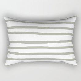 Simply Drawn Stripes Retro Gray on White Rectangular Pillow