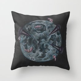Crow Full Moon (March) Throw Pillow