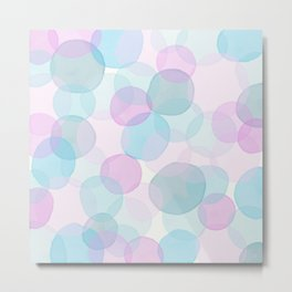 Watercolor circles pink and blue Metal Print