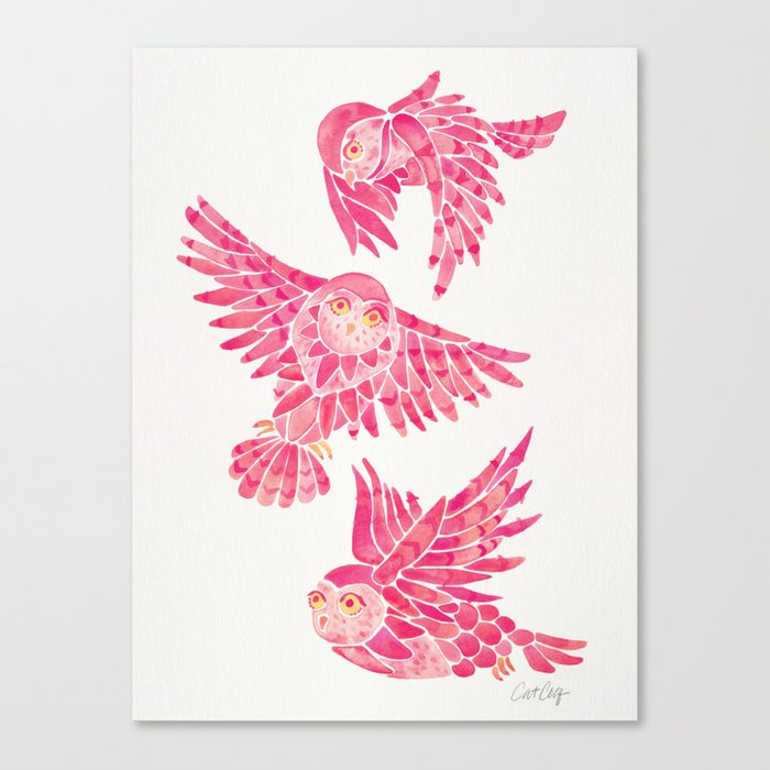 Owls in Flight – Pink Palette Canvas Print
