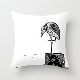 B&W Heron Throw Pillow