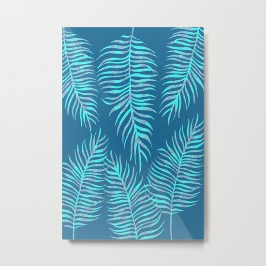 Fern Pattern On Blue Background Metal Print