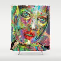 archan nair Shower Curtains featuring Ultraviolet Drops by Archan Nair