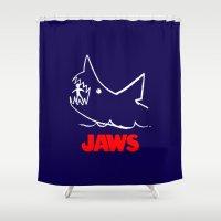 jaws Shower Curtains featuring Jaws by IIIIHiveIIII