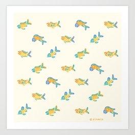 Pastel fish pattern Art Print
