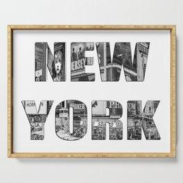 New York  B&W typography Serving Tray