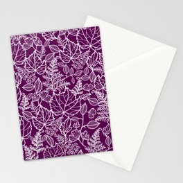 Plum Maple Leaves Stationery Cards