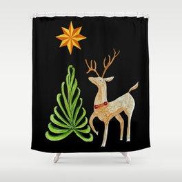 Deer near a tree, gazing at a star Shower Curtain