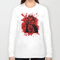 shaun of the dead Long Sleeve T-shirts featuring Shaun of the dead blood splatt  by Buby87