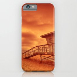 Lifeguard tower with the rosy afterglow of a sunset at Hermosa Beach, California iPhone Case
