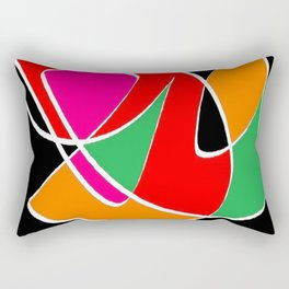 Multicolor black Rectangular Pillow