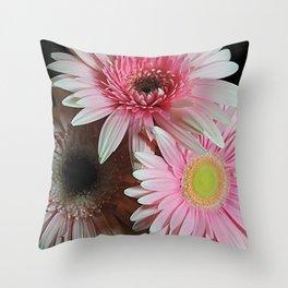 Pink Daisy Boquet Throw Pillow
