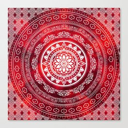 'Scarlet Destiny' Red & White Flower Of Life Boho Mandala Design Canvas Print