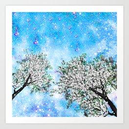 NEBULA TREES Art Print