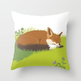 Snoozy Red Fox Throw Pillow